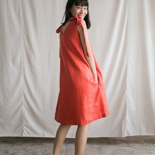Foak Tie Top Dress in Orange