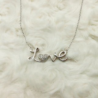 Love Clavicle Necklace 925 Silver Cursive Bling Heart shaped Pendant