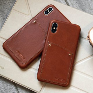 Exquisite | Vintage Leather Hard Shell Case for iPhone XS / Max  - Tan
