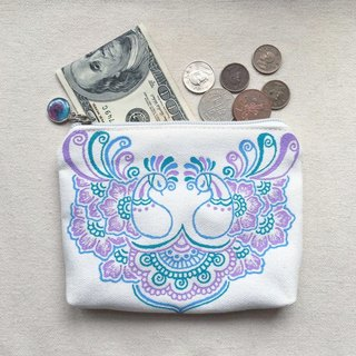 Hand-painted Storage bag purse cosmetic bag debris pouch small objects package purple teal blue zipper Henna Mandala design Mandala Zen painting Hanna Man pedicle about ethnic Indian painted canvas