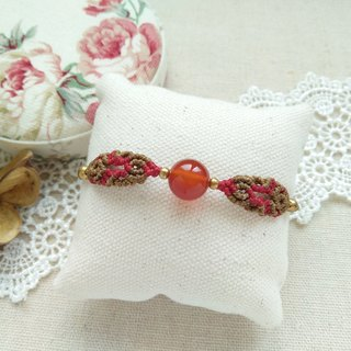 BUHO hand made. Oriental beauty. Carnelian X South American wax wax bracelet