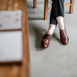 Lin Guoliang Wings carved Oxford shoes Cocoa