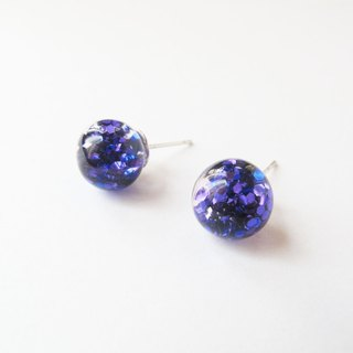 * Rosy Garden * purple and blur blitter with water inside glass ball earrings
