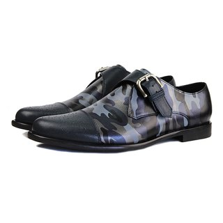 JAZZ M1120 Camo Blue Leather Monk-Strap Shoes