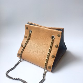 Small Create-your-own Cube Bag with orange leather