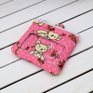 Pink Bear Tour Card Voucher Purse ID Card Holder Small Wallet Business Card Holder Identification Card*SK*