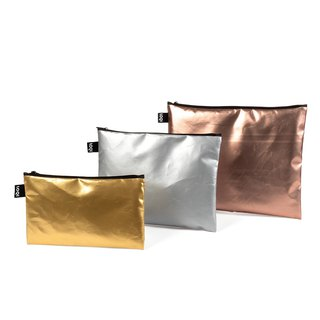 LOQI three-in-one storage bag - matt gold ZPMM