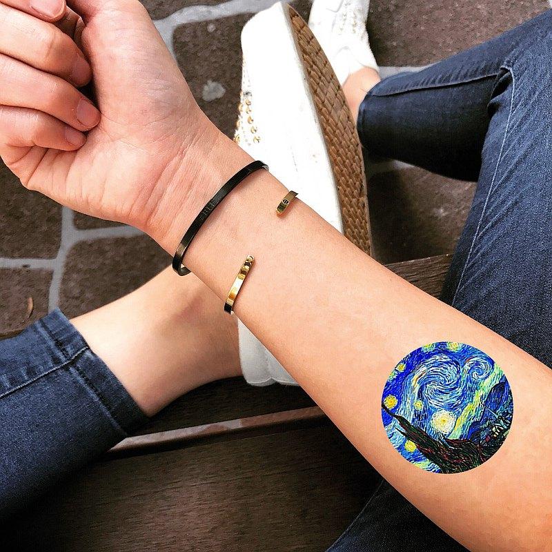 OhMyTat 梵高星夜 Starry Night 刺青圖案紋身貼紙 (2 張)