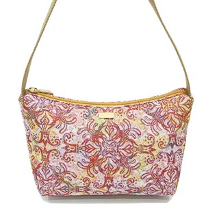 Queen flower jacquard woven Videos crescent shoulder bag pink yellow -REORE