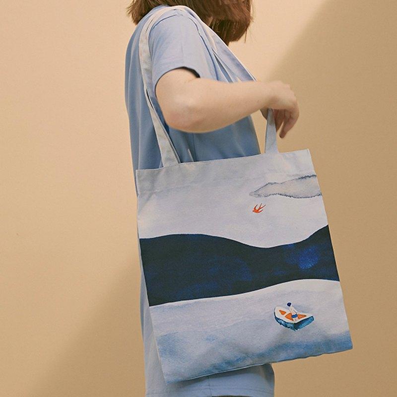 YIZISTORE原創風景印花大容量手提單肩包女休閑環保帆布包購物袋