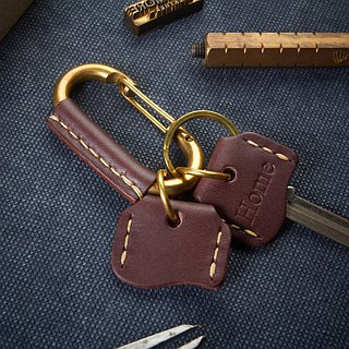 Leather Wrap Brass Carabiner Claps with 2 Key Covers