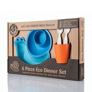 [Environmental protection, plant corn] snail modeling children's cutlery set - blue
