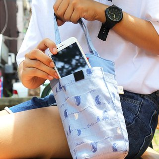 Thick green mobile phone beverage bag (walking in the first line) sky blue