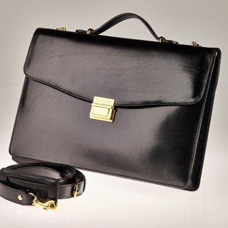 Vegetable-tanned leather briefcase / gold finish brass accessories