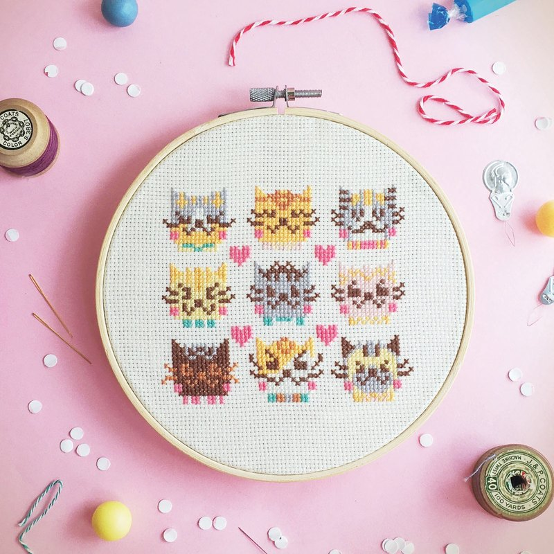 Cross Stitch KIT - I Love Catsss.