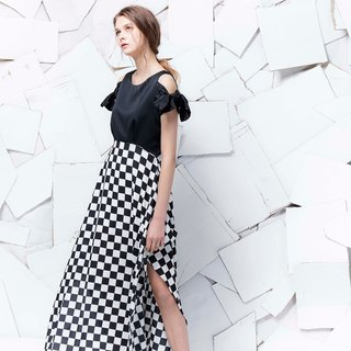 YUWEN black and white grid tied bow tie dress