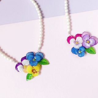 *Haku‧Neko*painted pansy pink flowers with purplish leaves Huali Zhu sub Necklace necklaces