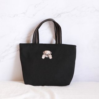 Pug embroidery embroidery bag handbag
