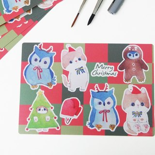 Christmas tea and blueberries rolling type sticker
