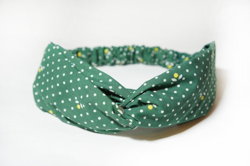 Green dot geometry / handmade elastic hair band