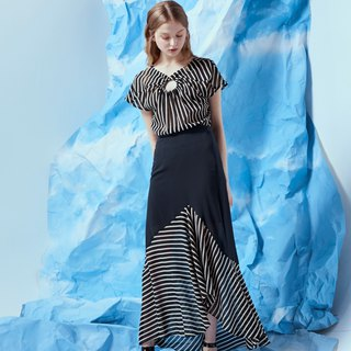 Black stitching striped dress