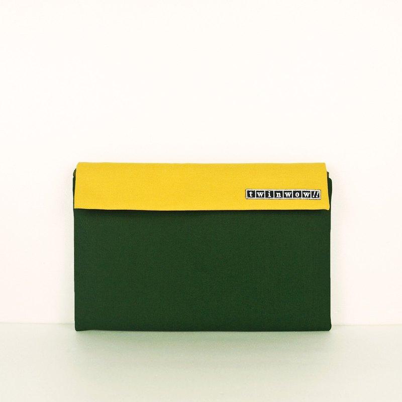 時尚筆記 - 細緻質感平板包 - 杉綠黃