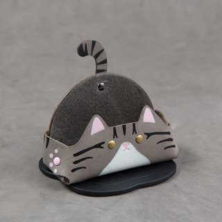 MSBR Leather Animal Series - Business Card Holder / Mobile Phone Holder (Wide Edition - Gray Tabby Cat)