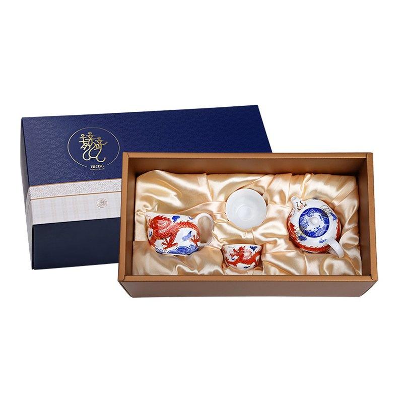 林春香手繪-紅龍4入禮盒(壺+海+2杯)
