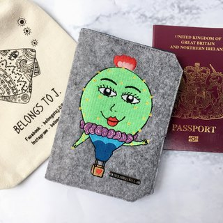 Belongs To J. Embroidery Passport Case / Passport Cover - Miss Hot Air Balloon
