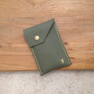 Thin business card holder, credit card, card holder, hand-stitched, leather magnetic buckle [time leather] green