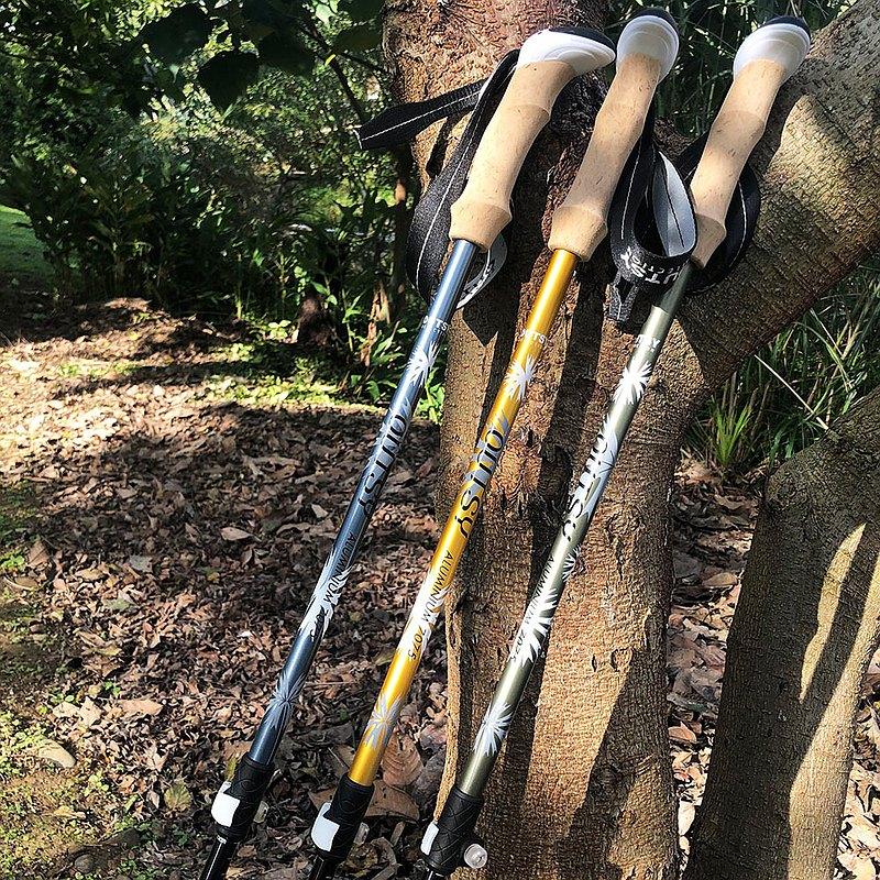 避震極輕三節伸縮外鎖鋁合金雙曜登山杖(三色可選) 交換禮物