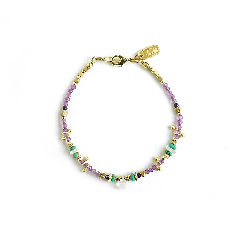 Ficelle | handmade brass natural stone bracelet | [Amethyst] romantic preview