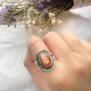 Sun Stone Sunstone 925 Sterling Silver Rope Lace Ring Nepalese Handmade Silver