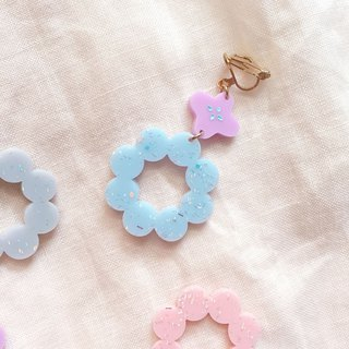 Circle flower wreath wreath for you / earrings
