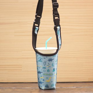 Dinosaur Drink Long Backpack - Powder Blue