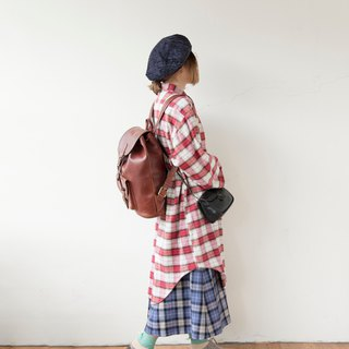 Red and white mixed blue line French long version pullover plaid shirt