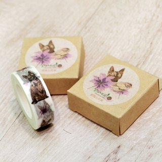 Tortoiseshell cat and little sparrow / Masking tape