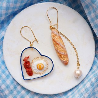 Fried Egg& Bacon Breakfast|polymer clay gold-plated earrings ear hooks ear clips