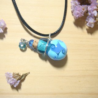 Grapefruit forest handmade glass - roll windmill free blue - essential oil bottle / smell bottle necklace (round bottle)