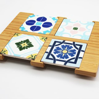 Taiwan flower bamboo and bamboo tea tray contains 4 pieces of Taiwanese tiles