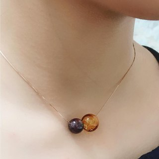 January Garnet Birthstone Diffuser Necklace Titanium Steel Rose Gold S925