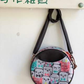 [Good day hand made] Handmade. Cat Paradise Small Round Bag. crossbody bag. Side backpack