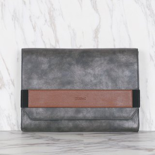 Dark Grey Color Two-Tone PU Faux Leather Large Envelope Clutch