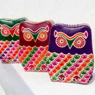 Valentine's Day gift handmade suede piggy banks / Hand-painted style leather wallet - cute animal Owl (purple / wine red / green)