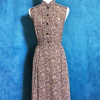 Ping-pong vintage [vintage dress / small collar collar flower sleeveless vintage dress] bring back VINTAGE