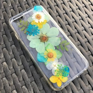 iPhone 7 Handmade Dry Pressed Flowers Case Green Flower case 005