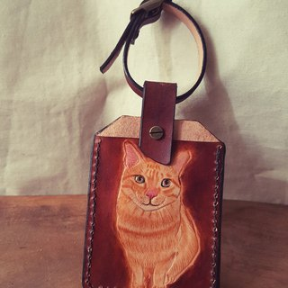 Custom-made pet full body cat pure leather luggage tag / identification card / travel card sets (made lover, birthday gift)