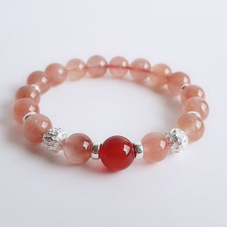 Red rabbit hair crystal red agate 925 sterling silver six-word mantra. bracelet