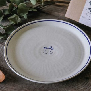 Brut Cake Handmade pottery - smiling containers series - Hand _ large individual plate (4) for the main course dish and pasta dish