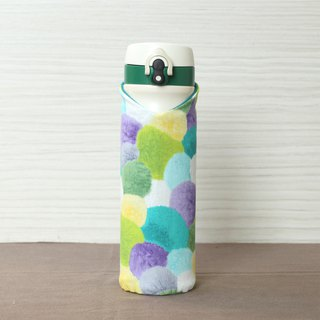 Adoubao-carrying bottle cooler bottle bottle set - blue green purple & soft hair ball printing